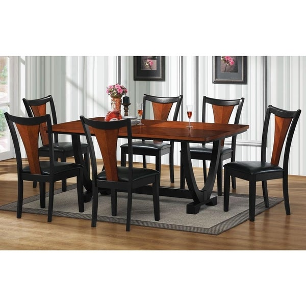 shop besancon two tone black cherry 7 piece dining set free shipping today. Black Bedroom Furniture Sets. Home Design Ideas