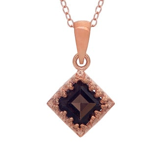 Gioelli Rose Gold over Sterling Silver Square-cut Smokey Quartz Crown Necklace
