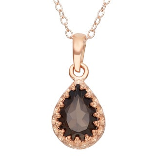 Gioelli Rose Gold Over Silver 9x6mm Pear-Cut Smokey Quartz Crown Pendant Necklace
