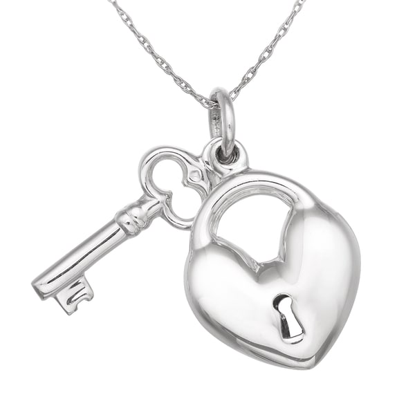Gioelli Sterling Silver Heart Lock and Key Necklace