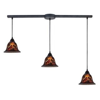 Firestorm 3-light Dark Rust Hand-blown Glass Pendant