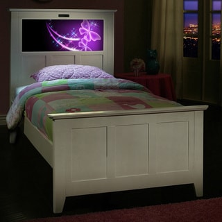 LightHeaded Beds Satin White Twin Bed with Changeable Back-lit LED Headboard Imagery