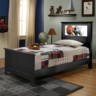 LightHeaded Beds Satin Black Shaker Twin Bed with Changeable Back-lit LED Headboard Imagery by Lifetime|https://ak1.ostkcdn.com/images/products/9315838/P16476408.jpg?impolicy=medium