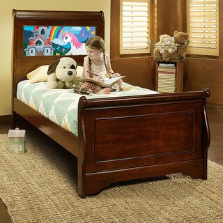 LightHeaded Beds Edgewood Twin Sleigh Bed in Cheshire Cherry with back-lit LED Headboard