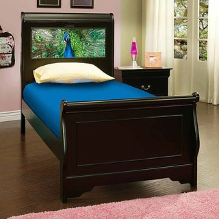 LightHeaded Beds Edgewood Satin Black Twin Sleigh Bed with Changeable Back-lit LED Headboard Imagery