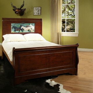 LightHeaded Beds Edgewood Cheshire Cherry Full Sleigh Bed with Changeable Back-lit LED Headboard Ima