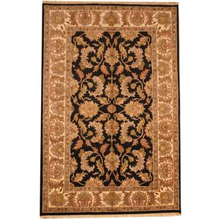 Herat Oriental Indo Hand-knotted Mahal Black/ Ivory Wool Rug (6' x 9'2)