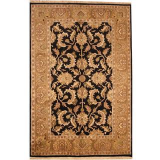 Herat Oriental Indo Hand-knotted Mahal Black/ Beige Wool Rug (6' x 9')