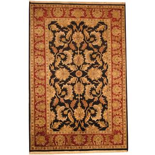 Herat Oriental Indo Hand-knotted Mahal Black/ Red Wool Rug (6'1 x 9'2)
