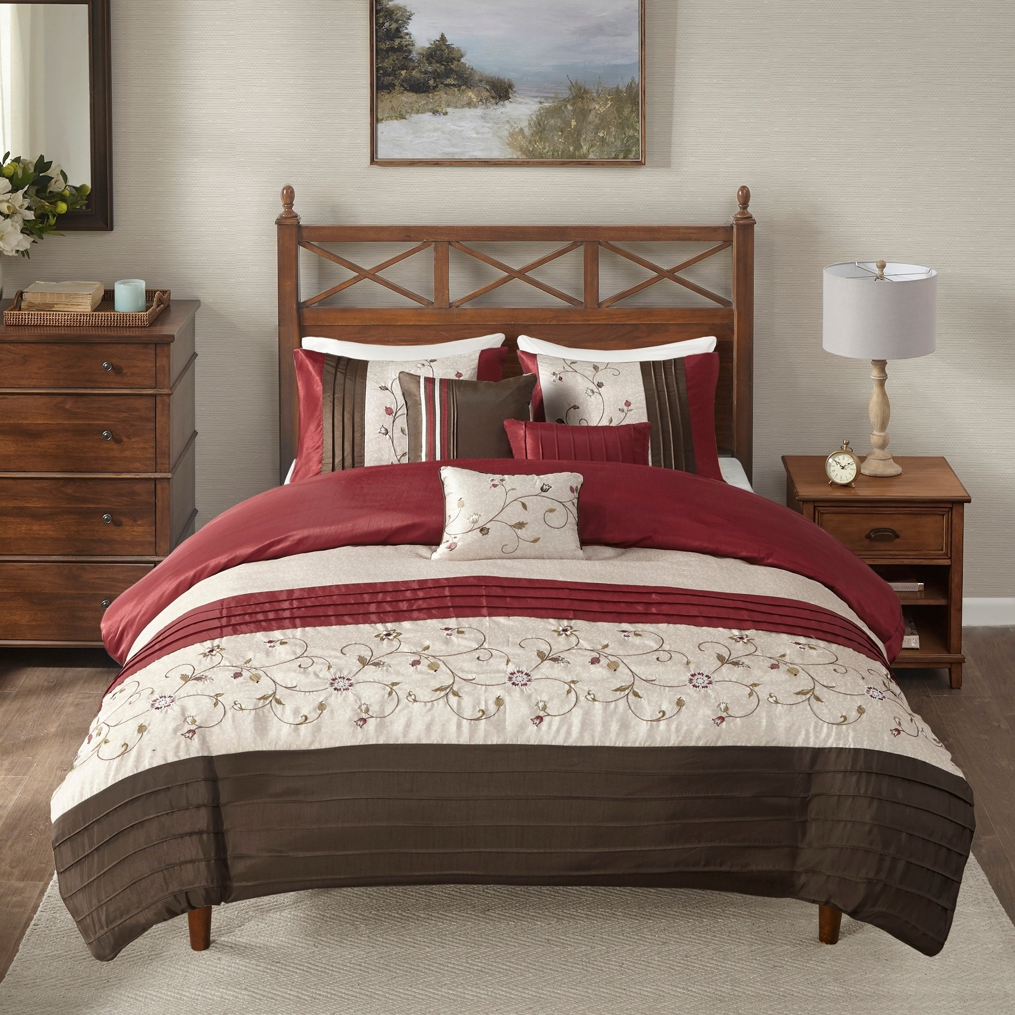 Madison Park Belle 6 Piece Red Duvet Cover Set On Sale Overstock 9315888