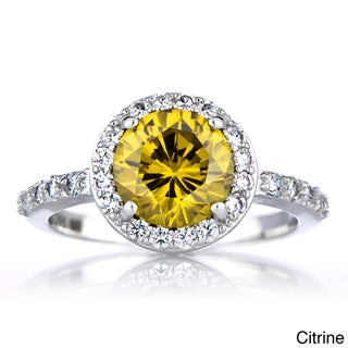Sterling Silver Cubic Zirconia Halo Birthstone Ring
