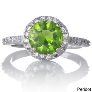 Sterling Silver Cubic Zirconia Halo Birthstone Ring (More options available)