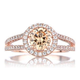 Gold over Silver Champagne Cubic Zirconia Engagement Style Ring