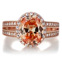 Sterling Silver Rose Goldtone and Oval Champagne CZ Engagement Ring