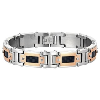 Stainless Steel Carbon Fiber and Rose Ion Plating Accent Bracelet