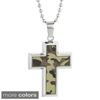 Stainless Steel Camouflage Cross Pendant and 22-inch Ball Chain