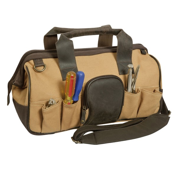 Shop Canyon Outback Canvas and Leather Open Mouth Tool Bag - Free ... 7daa8f0d76