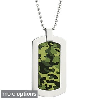 Stainless Steel Men's Camouflage Accent Dog Tag Pendant Necklace