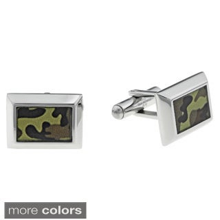Stainless Steel Men's Camouflage Accent Cuff Links