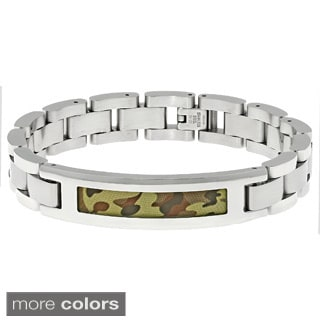 Stainless Steel Link Bracelet with Camouflage Accent