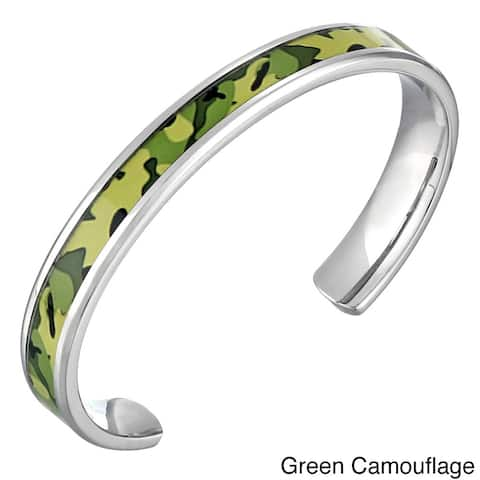 Stainless Steel Men's Camouflage Accent Cuff Bracelet