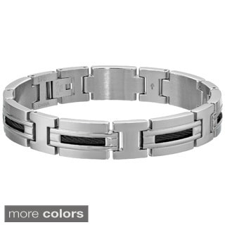 Stainless Steel Men's Cable Inlay Link Bracelet