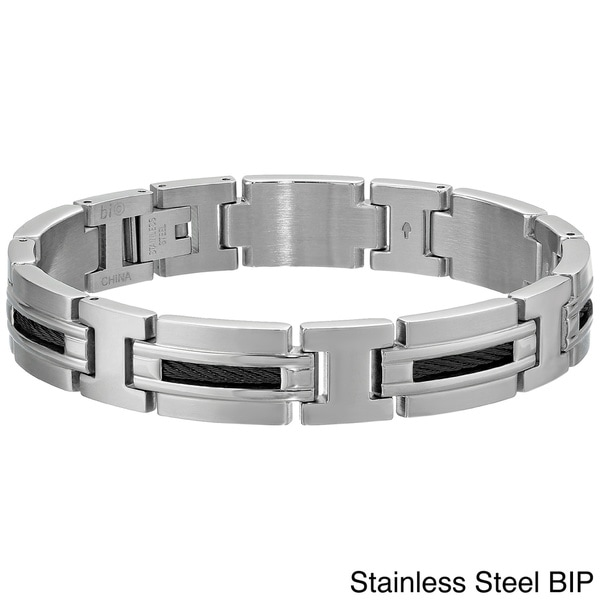 Stainless Steel Men's Cable Inlay Link Bracelet. Opens flyout.