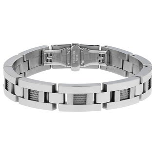 Stainless Steel Men's Silvertone Cable Inlay Link Bracelet