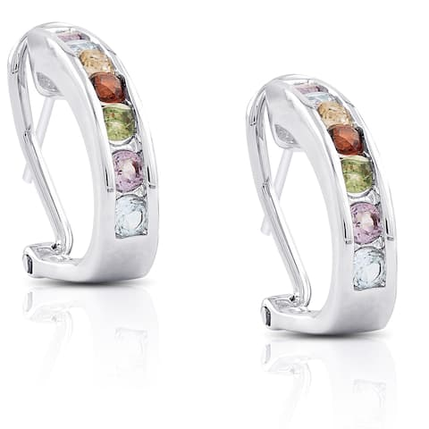 Dolce Giavonna Silverplated Multi Gemstone Hoop Earrings