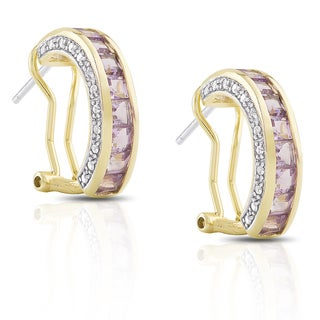 Dolce Giavonna Gold over Sterling Silver Amethyst and Diamond Accent Hoop Earrings