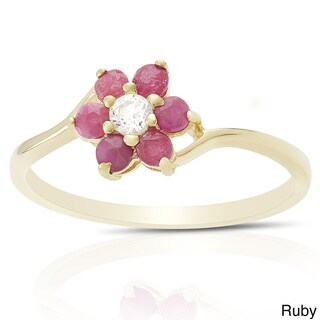 Dolce Giavonna Gold Over Sterling Silver Gemstone Flower Ring with Red Bow Gift Box