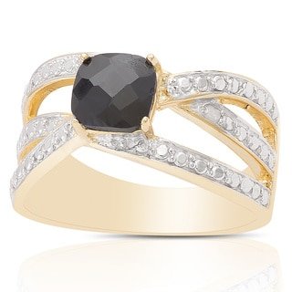 Dolce Giavonna Gold Over Sterling Silver Sapphire and Diamond Accent Ring