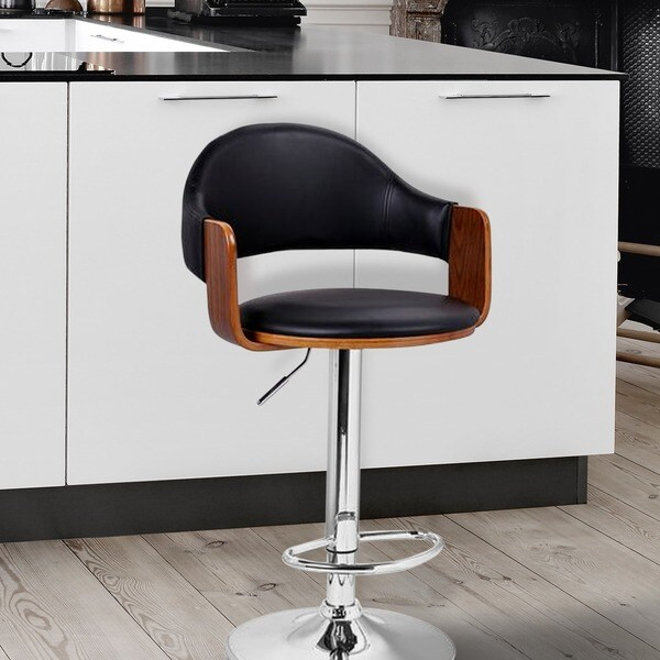 Shop Black Leathette And Walnut Colored Wood Adjustable