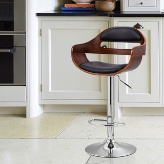 Adeco Leatherette and Walnut-color Wood Hydraulic Lift Adjustable Barstool with Low Back and Chrome Accent Pedestal Base