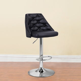 Adeco Leatherette Adjustable Full Button Tufted Back Black Barstool Chair with Chrome Finish Pedestal Base