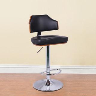 Adeco Walnut Off-black Mid Curved Back Adjustable Bar stool