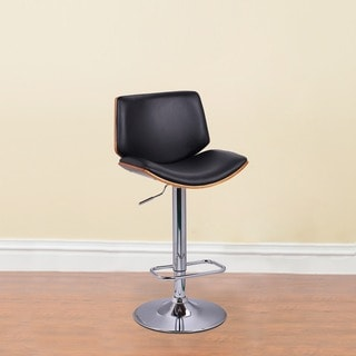 Adeco Walnut Off-black High Back Curved Seat Adjustable Bar stool