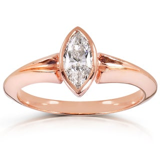 Annello by Kobelli 10k Rose Gold 2/5ct TDW Certified Marquise Diamond Solitaire Ring (F-G