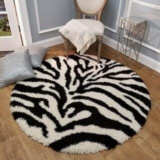 Maxy Home Zebra Shag Animal Print Black and White Area Rug (5' Round)