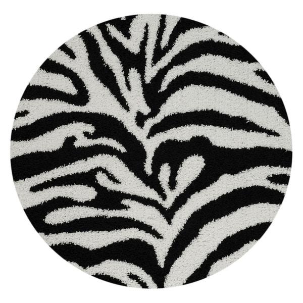 Maxy Home Zebra Shag Animal Print Black And White Area Rug