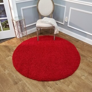 Maxy Home Red Shag Area Rug Single Solid Color - 5' x 5'