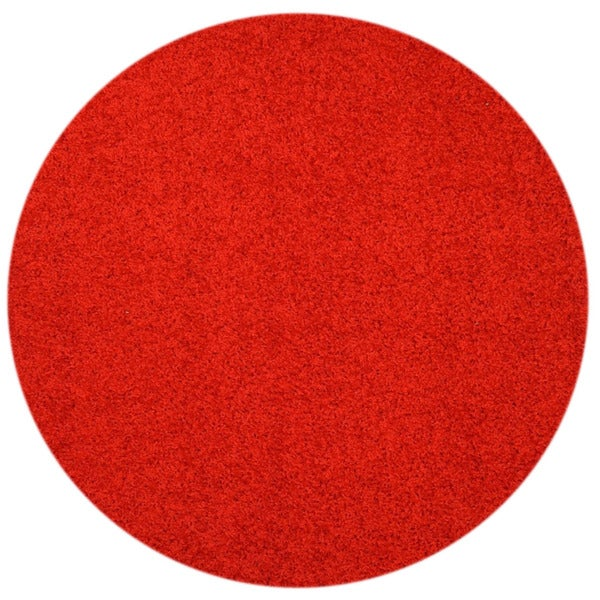 Maxy Home Red Shag Area Rug Single Solid Color 5 Round