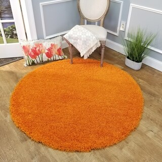 Maxy Home Orange Shag Area Rug Single Solid Color (5' Round)