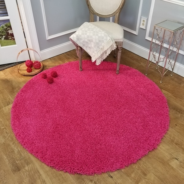 Maxy Home Pink Shag Area Rug Single Solid Color (5' Round) - 5' x 5'