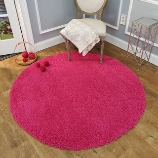 Maxy Home Pink Shag Area Rug Single Solid Color (5' Round)