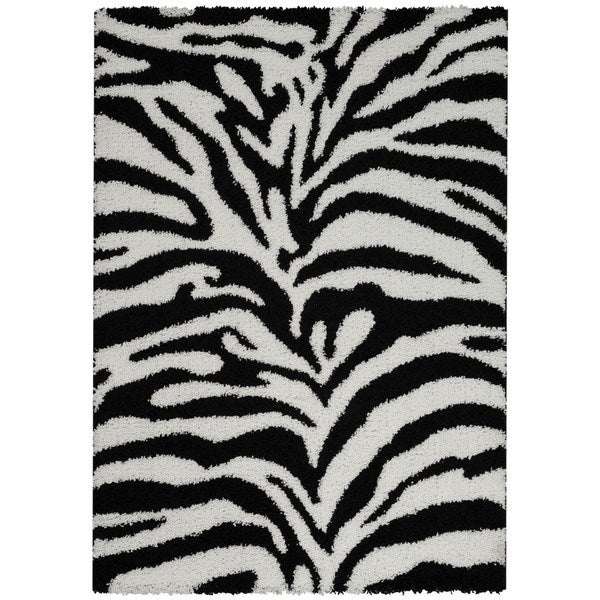 Maxy Home Zebra Shag Accent Rug Black And White Doormat 1