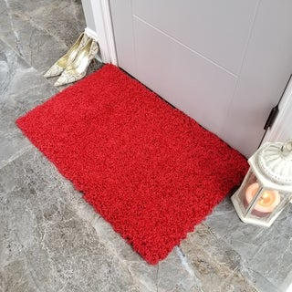 Maxy Home Red Shag Accent Rug Doormat Single Solid Color (1'8 x 2'7)