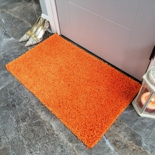 Maxy Home Orange Shag Accent Rug Doormat Single Solid Color (1'8 x 2'7)