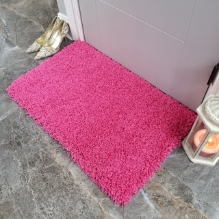 Maxy Home Pink Shag Accent Rug Doormat Single Solid Color (1'8 x 2'7) - 1'8 x 2'7