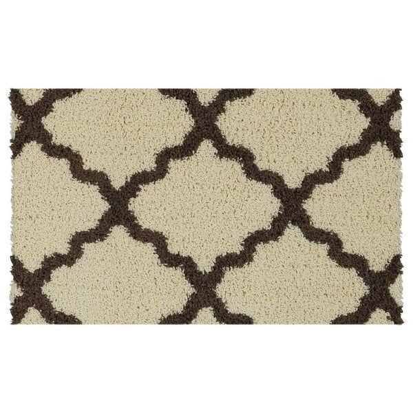 Maxy Home Shag Moroccan Trellis Ivory And Brown Accent Rug